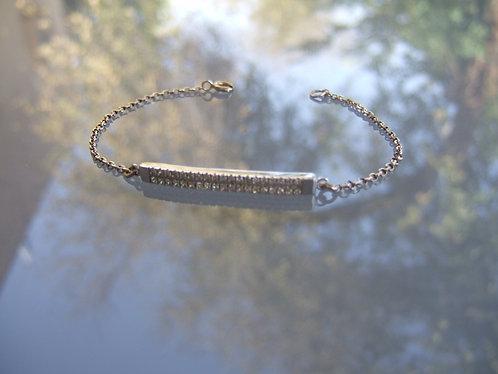 Silver bracelet , white zircons studded plate ,Gift for her