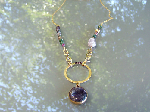 Goldfield Necklace with Ametist gamstone pendant