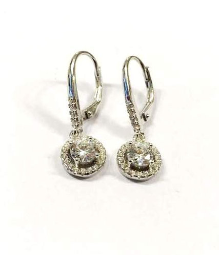 Silver round earrings , Zircons  earrings , Silver jewelr