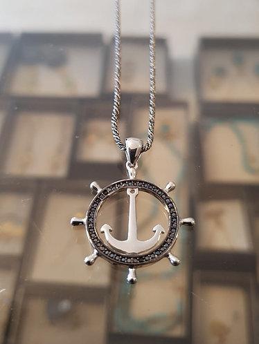 Silver necklace , Men jewelry, Ancor pendant