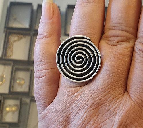 Spiral silver ring, 0pen ring, Spiral ring, Round silver ring