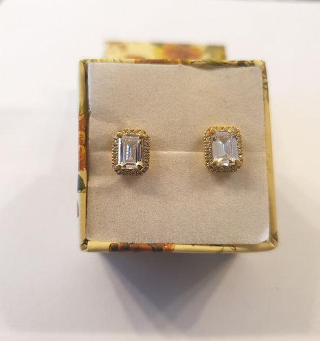 Gold 14k earrings , Rectangle zircon earrings