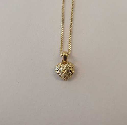 14K gold Heart Pendant ,Puffy hear pendant , Gold heart pendant,Gold necklac