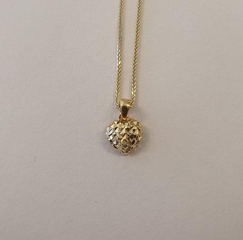 14K gold Heart Pendant ,Puffy hear pendant , Gold heart pendant,Gold necklac