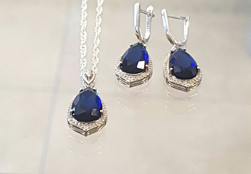 Elegant silver jewelry,Silver 925 set,Sapphire gemstone set
