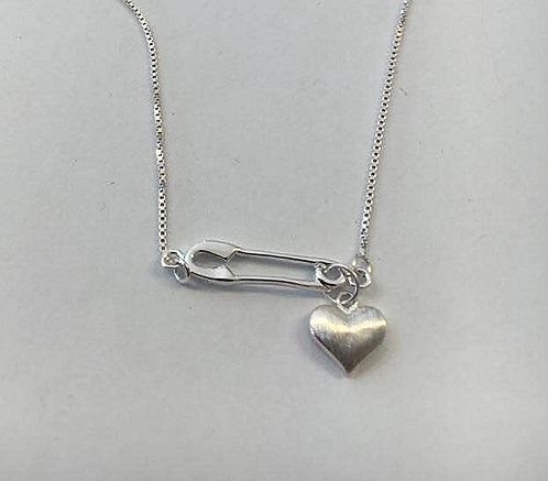 A safety pin with a heart , Heart pendant, Silver necklace, 925 silver jewelry