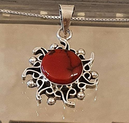 Red coral pendant , Silver 925 pendant,Natural coral stone