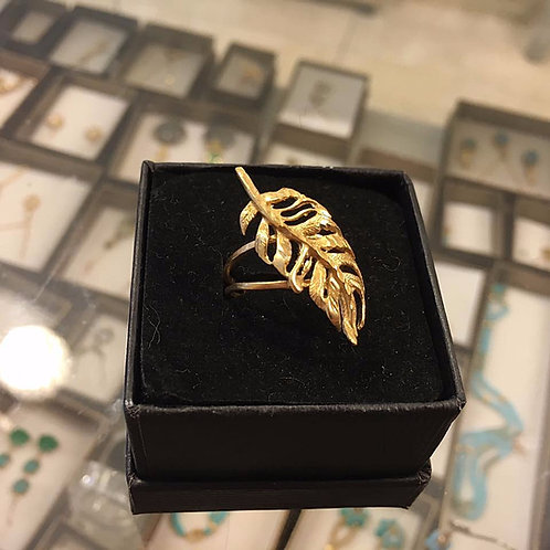 Gold-filled Ring ,Feather  ring , Feather jewelry