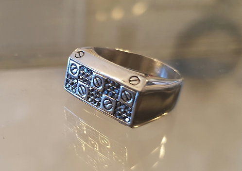 Rectangular  ​​ring, Silver ring,925 silver ring ,Men ring, Gift for him