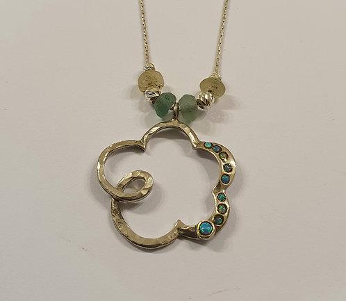 Opal flower pendant,Flower necklace, 925 silver pendant