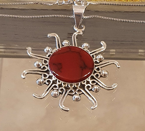Big Red coral pendant , Silver 925 pendant,Natural coral stone