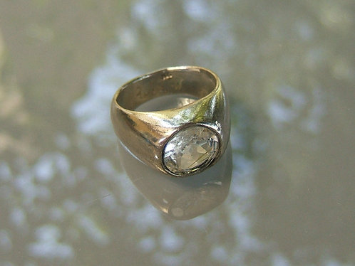 Rutilated Quartz gamstone ring, Gamstone ring, silver ring, Quartz stone ring, 9
