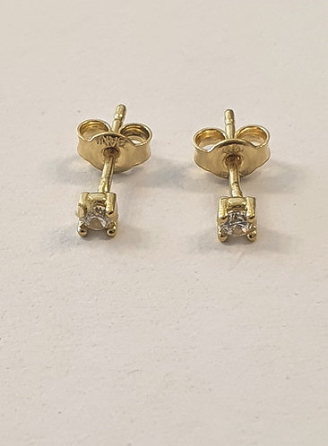 Gold 14k earrings ,Square earrings ,zircon earrings