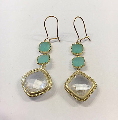 Goldfilled earrings , Dangle earrings , Geometric earrings ,light blue earrings