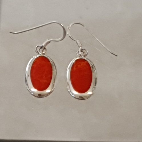 Orange coral earrings , Silver 925 earrings,Natural coral stone
