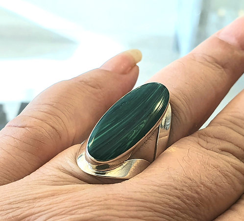Malachite gemstone ​​ring,Green gemstone ring,925 silver ring