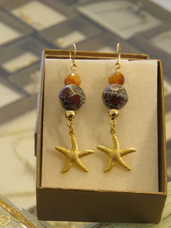 Starfish earrings with Fire Agate stons, Dangle and drop errings, Gold filled ea