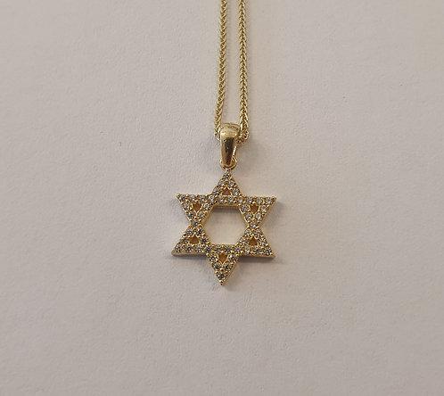 Star of David , zircon gold Pendant , Star of David pendant