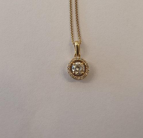 Round 14K gold Pendant , Zircon necklace , Round zircon
