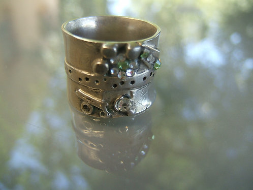 Wide Ethnic Ring,Silver Ring,Oxidized Silver ,Swarowski Crystal Ring,925 Sterlin
