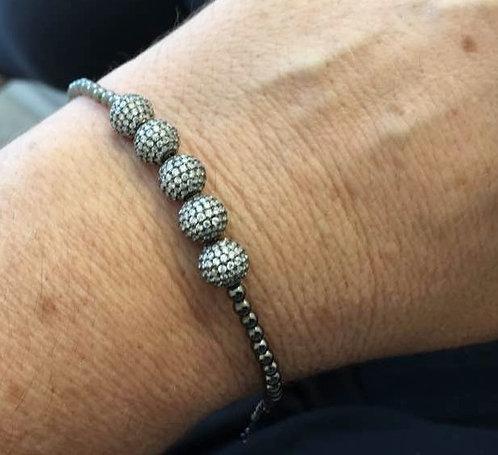 Silver balls Bracelet ,Men's bracelet , Beads bracelet, Men jewelry
