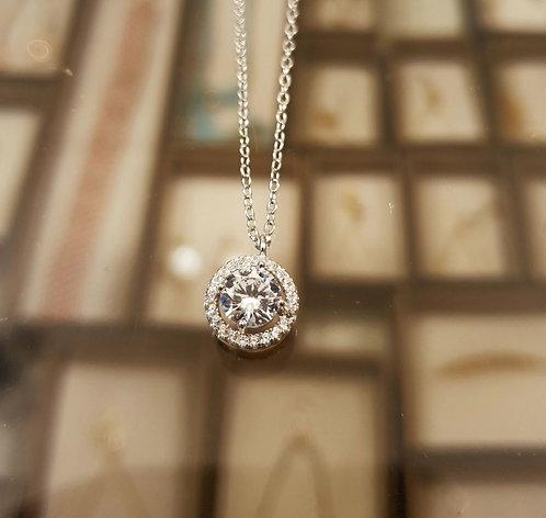 Round zircon pendant, Silver pendant, 925 silver pendant