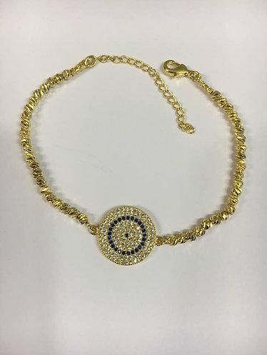 Blue eye bracelet , Gold-filled bracelet ,Bracelet Balls, Evil eye