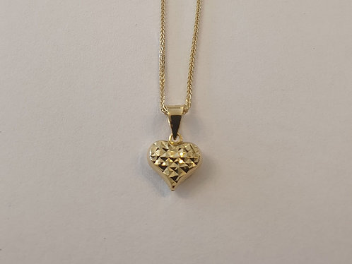 14K gold Heart Pendant ,Puffy hear pendant , Gold heart pendant,Gold necklace