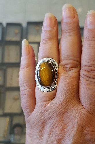 Tiger eye gemstone ring,Gemstone ring,925 silver ring,Tiger eye ring
