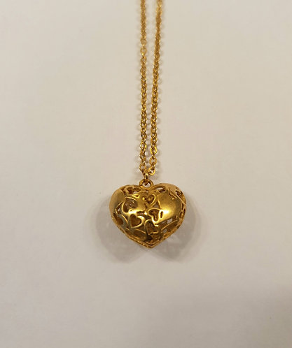 Gold-filled Heart Necklace,Puffy heart pendant with zircon inside