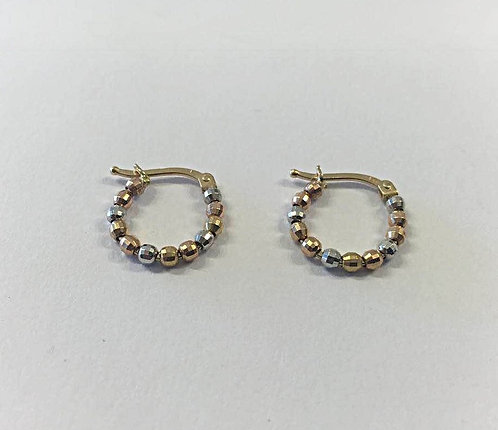 Gold  earrings , Gold 14k ,Hoop earrings, Ball hoop earrings
