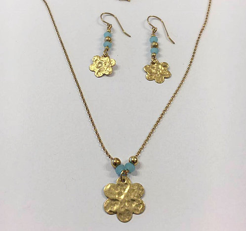 Goldfield  set , Goldfield  jewelry, Flowers jewelry, Gift for her
