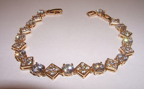 Squares and Circles bracelet ,  Zircons bracelet