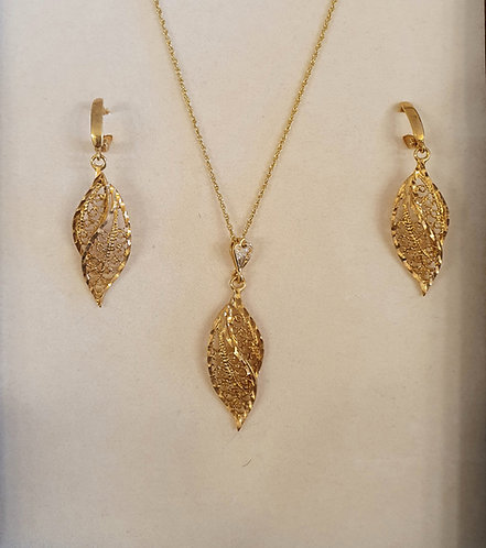 Mesh Leaf set , Goldfield jewelry,  mesh leaf  jewelry