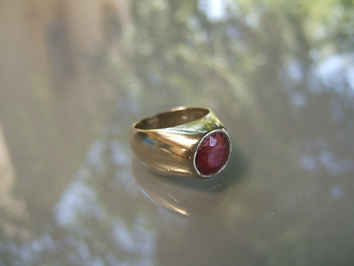 African Ruby gamstone ring, Gamstone ring, silver ring, Cut African Ruby stone r