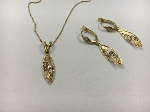 14K gold set ,  zircons set , A marquise set with tiny zircons