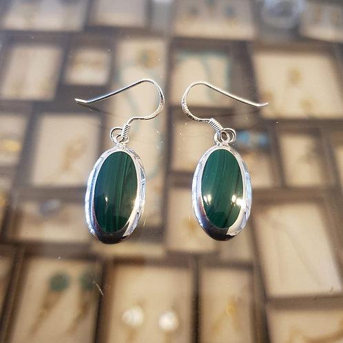Malachite stone earrings , Silver 925 earrings,Natural malachite stone