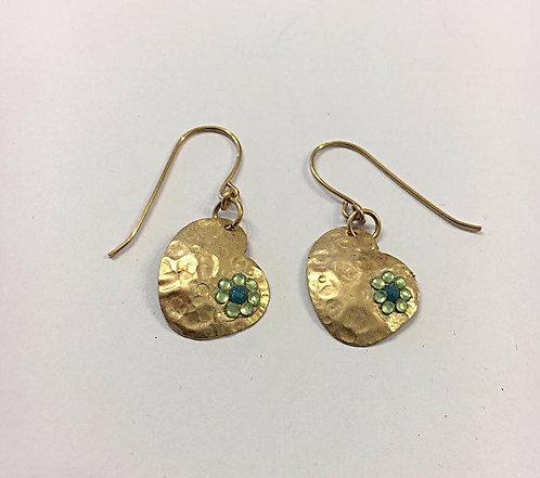 Goldfilled heart earrings , Dangle earrings ,Green  earrings