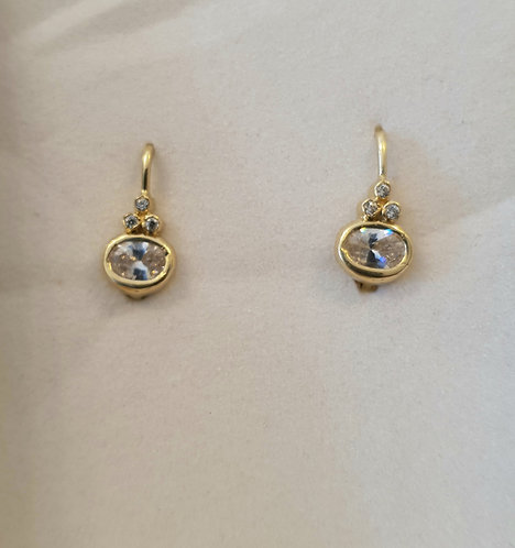Gold 14k earrings ,Elegant earrings with Zircons , Oval zircon
