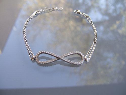 Ainifiniti bracelet , White Zircons ,  925 silver bracelet ,silver jewelry