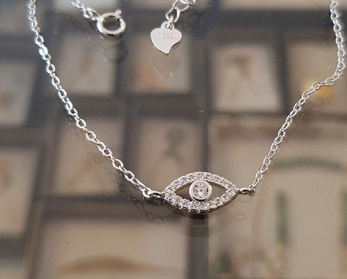 Evil Eye 925 Silver Bracelet ,A delicate silver  bracelet ,Silver eye jewelry