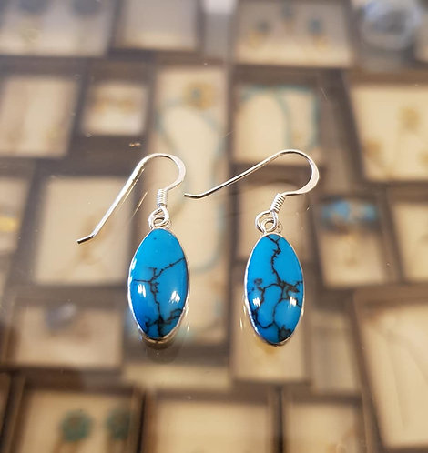 Mexican Turquoise earrings , Silver 925 earrings,Natural turquoise stone