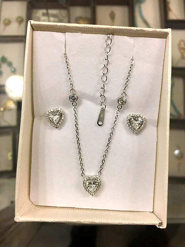 Heart Silver set ,Heart jewelry set , silver jewelry ,Valentine's day gift