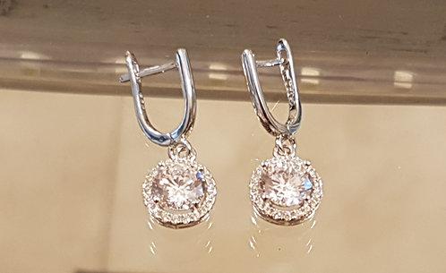 Silver round earrings , Zircons  earrings , Silver jewelry