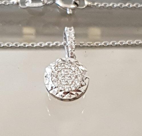 white 14K gold Pendant , Delicate necklace , Round pendant