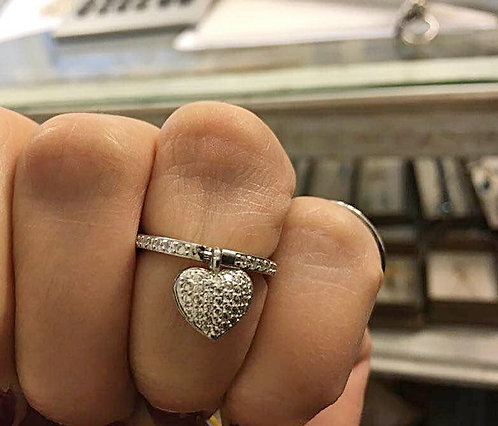 Silver ring,heart silver ring, Crystal ring, Silver 925 sterling