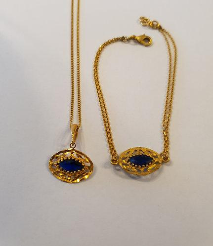 Blue Eye jewelry set, Blue marquise jewelry,  Blue Eye goldfiled set