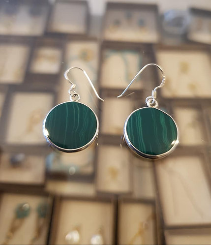 Malachite stone earrings , Silver 925 earrings,Natural malachite stone