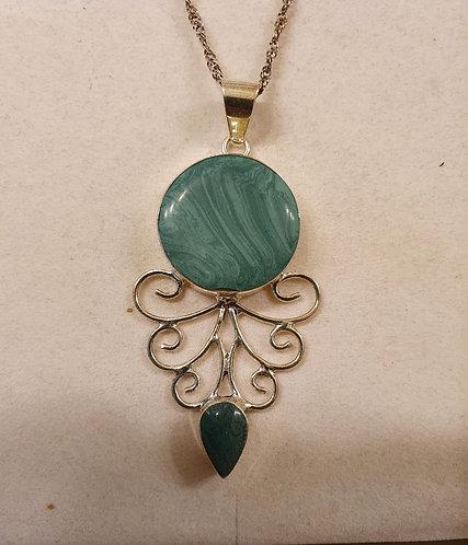 Green malachite pendant  , Silver 925 pendant,Natural malachite stone