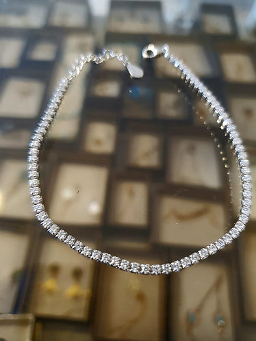 Tennis bracelet, One line square zircons , square tennis bracelet